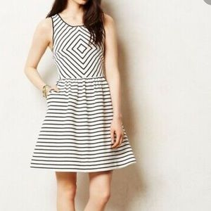 Anthropologie Maeve Mitered Stripe Dress